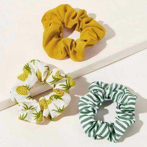 Anthropologie Pineapple Striped Scrunchie 3pcs
